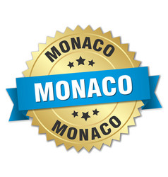 Monaco round golden badge with blue ribbon vector