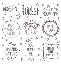 nature set logo vector image vector image