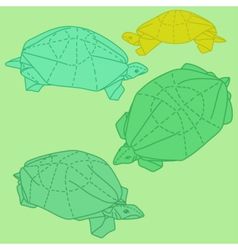 Origami turtles drawing set vector image vector image