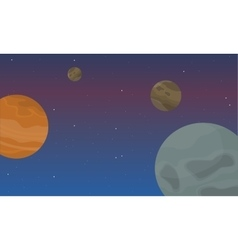 Planet in space landscape collection vector