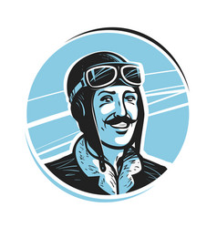 Portrait of happy pilot in cap aviator airman vector