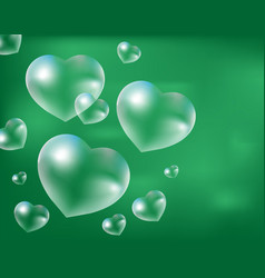 realistic soap bubbles heart-shaped drops of vector image vector image