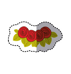 red rounds roses with leaves icon vector image