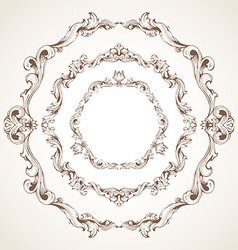 Set of circle vintage sepia frames vector