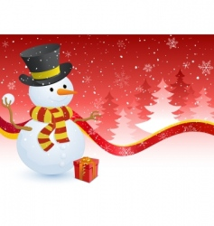 snowman with a gift box vector image