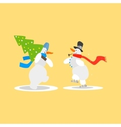 Two funny snowmen with a christmas tree vector