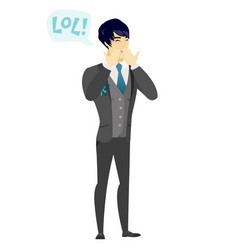 Young asian groom laughing out loud vector