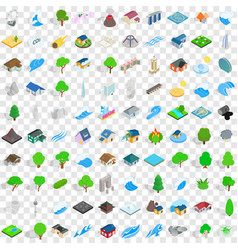 100 landscape icons set isometric 3d style vector