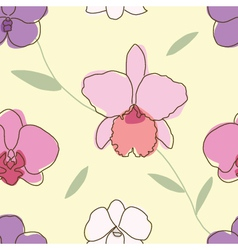 Seamless of floral pattern orchids vector