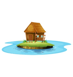 An island with a small nipa hut vector