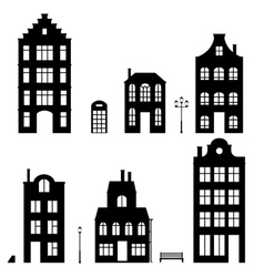 Set of houses silhouettes on white background vector
