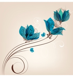 Floral background retro card vector image