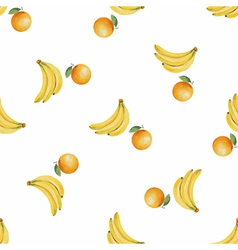 Watercolor pattern of fruit banana and orange vector