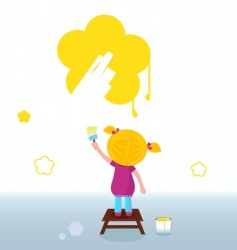 Kid painting flower vector