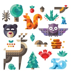 Various forest icons geometric proportions vector