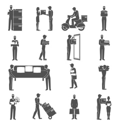 Delivery man icons set vector