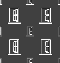 Door enter or exit icon sign seamless pattern on a vector