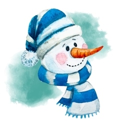 Watercolor hand drawn snowman vector