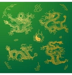 Background with asia dragons hand drawn vector
