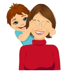 Little son covering her happy mother eyes vector