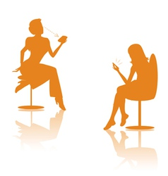 Women on cell silhouettes vector