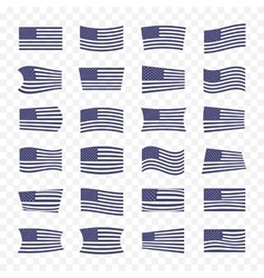 USA Flag set on a transparent background vector image