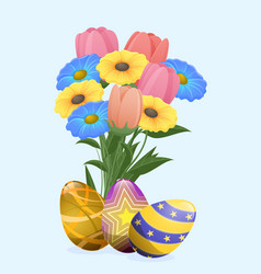 beautiful colored eggs and festive spring flowers vector image