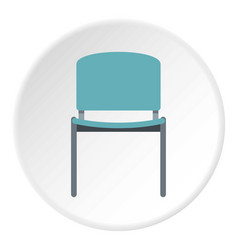 Blue office metal chair icon circle vector