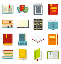 books set flat icons vector image vector image