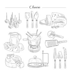 Cheese and cutting tools sketch vector