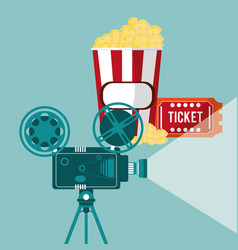 Cinema camera film projector ticket and pop corn vector