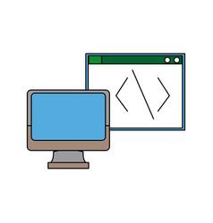 Computer monitor programming design graphic vector