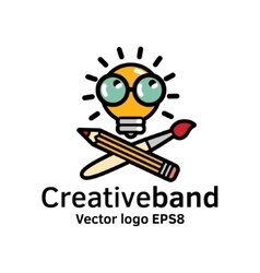 Creative band color logo icon art symbol bulb vector image