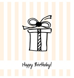 Cute happy birthday card with present box vector