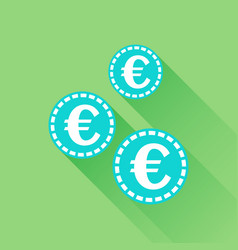 Euro coins icon in flat style blue coin on green vector