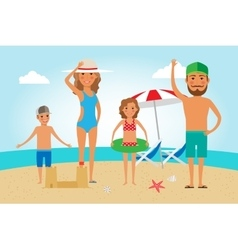 Family Beach Vacation vector image vector image