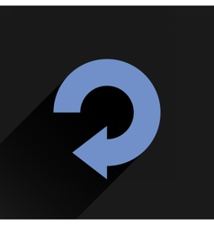 Flat blue arrow icon reset repeat sign vector