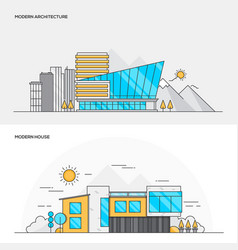 Flat line color concept- modern architecture and vector