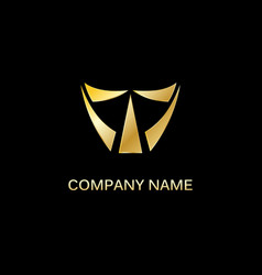 gold shape triangle company logo vector image