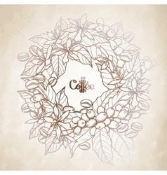 Graphic coffee wreath vector image