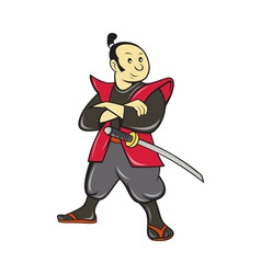Japanese samurai warrior with sword vector