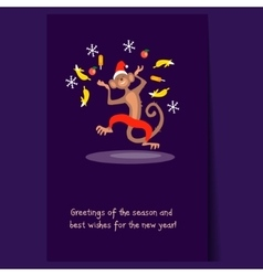 Jumping Christmas Monkey with Confetti Fruit vector image vector image