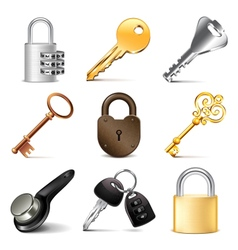 Keys and locks icons set vector