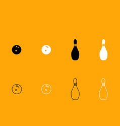pin and bowling ball black and white set icon vector image