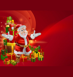 Red cartoon santa background vector