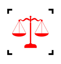 Scales balance sign red icon inside black vector