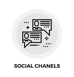 Social chanels line icon vector