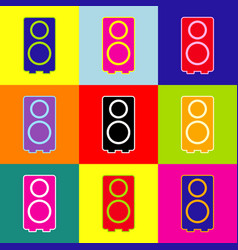 Speaker sign pop-art style vector