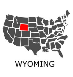 state of wyoming on map of usa vector image vector image