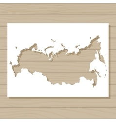 stencil template of Russia map on wooden vector image vector image